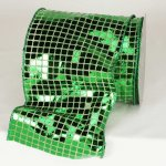 "6"" Green Square Sequence Fab Ribbon - Wire Edge"