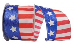 Flag Stripe Glitter Ribbon - Wire Edge