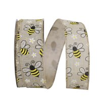 Bumble Bees Linen Ribbon Wire Edge