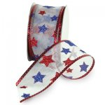Offray Patriotic Starburst Ribbon - Wire Edge