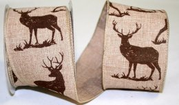 "2 1/2"" Deer Linen Ribbon - Wire Edge"