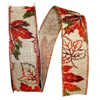 Leaves Glitter Linen Ribbon Wire Edge