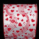 "6"" Red Velvet Love Notes Ribbon Wire Edge"