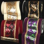 "6"" Sequin Argyle Velvet Ribbon - Wire Edge"
