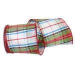 "4"" Stewards Plaid Dupioni Ribbon - Wire Edge"
