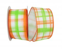 "2 1/2"" Plaid Print Blends Ribbon - Wire Edge"