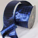"3"" Blue Lame Sun City Ribbon - Wire Edge"