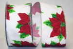 "2 1/2"" Poinsettia Glitz Ribbon - Wire Edge"