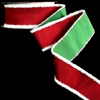 Double Sided Dupion Red Green Ribbon - Wire Edge