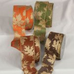 "2 1/2"" Wired Gold Leaves Ribbon (#33972-156)"