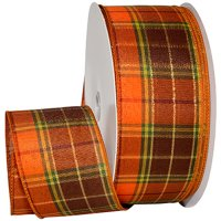 Fall Harvest Plaid Ribbon - Wire Edge