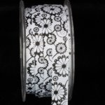 "5/8"" Inga's Black and White Flower Grosgrain Ribbon"