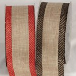 "2 1/2"" Wired Faux Linen Ribbon (#33812-156)"