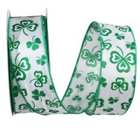 "1 1/2"" Clover Leaf Hearts Glitter Ribbon – Wire Edge"