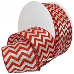 Peppermint Chevron Ribbon - Wire Edge