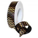 "7/8"" Gilded Chevron ribbon - Unwired (#984-MO)"