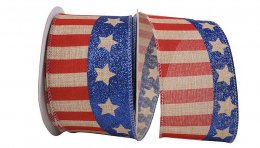 "2 1/2"" Flag Stripe Glitter Linen - Wire Edge"