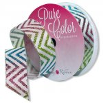 "7/8"" Morex Rainbow Chevron Ribbon"