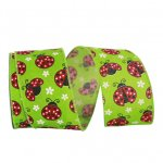 Ladybugs Linen Ribbon Wire Edge