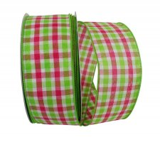 Plaid Watermelon Ribbon - Wire Edge