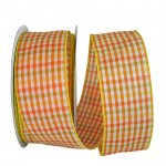 "2 1/2"" Gingham Check Bright Value Ribbon - Wire Edge"