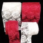 Sheer Print Rose Ribbon - Wire Edge