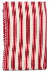 Red & White Stripe Tick Ribbon - Wire Edge
