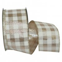 Ivory Gingham Metallic Jumbo Ribbon - Wire Edge