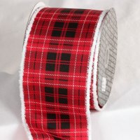 "4"" Red & Black Modern Plaid Ribbon - Wire Edge"