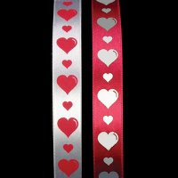 "5/8"" Satin Print with Hearts - Woven Edge"