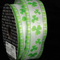 "1 1/2"" Shamrock Ribbon - Wire Edge"