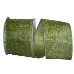 "2 1/2"" Metallic Green Linen Ribbon - Wire Edge"