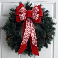 Candy Cane & Velvet Hand-Tied Bow - 10 Loops (#1593)