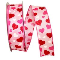 "1 1/2"" Hearts Floating Ribbon - Wire Edge"