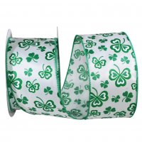 "2 1/2"" Clover Leaf Hearts Glitter Ribbon - Wire Edge"