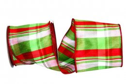 Lime Plaid Dupioni Ribbon - Wie Edge