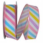 "1 1/2"" Pastel Stripe Diagonal Ribbon - Wire Edge"