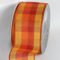 "2 1/2"" Orange/Yellow Tartan Chic Ribbon - Wire Edge"
