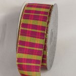Metallic Fuchsia Tartan Plaid Ribbon - WE (34132-156)