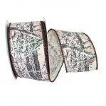 Birch Tree Bark Forest Glitter Ribbon Wire Edge