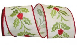 "4"" Holly Vine Embroidery Ribbon - Wire Edge"