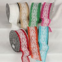 "2 1/2"" Lacy Natural Ribbon - Wire Edge"