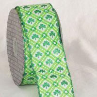 "2 1/2"" Shamrock Ribbon - Wire Edge"