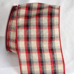 "4"" Red/Ivory Tartan Ribbon - Wire Edge"