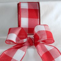 Red Large Check Ribbon - Wire Edge