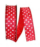"1 1/2"" Satin Striking Dots Ribbon - Wire Edge"