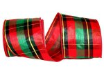 "4"" Plaid Festival Dupioni Mesh Back Ribbon - Wire Edge"