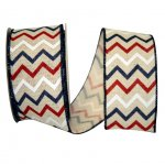 "2 1/2"" Patriotic Chevron Hopsack Ribbon - Wire Edge"