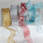 Sheer Snowflake Ribbon Wire Edge