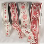 Linen Snow Flakes & Stars Ribbon - Wire Edge